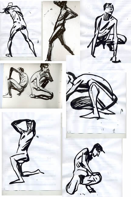 2 minute sumi brush drawings